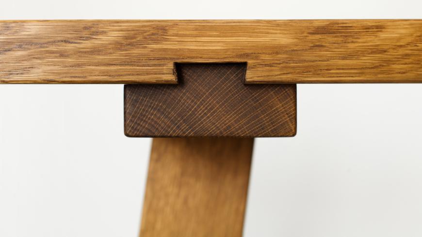 Sauntebord - langbord i eg, detalje