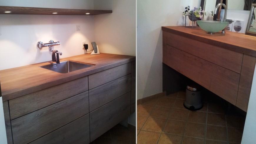 Sauntebordet - badeværelse i eg